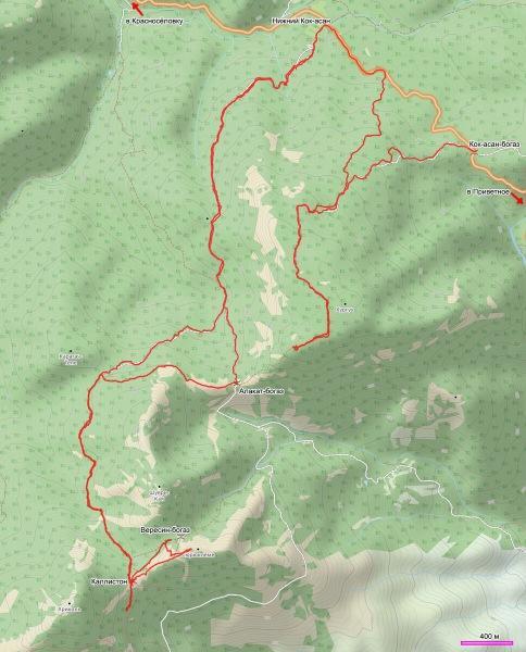 Карта и подробное описание маршрута похода с перевала Кок-асан-богаз на горы Хургуч и Сюрюкелеме со спуском к Нижнему Кок-асану
