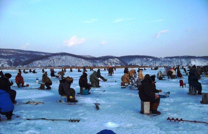 Зимняя ловля наваги началась. Все на лед.